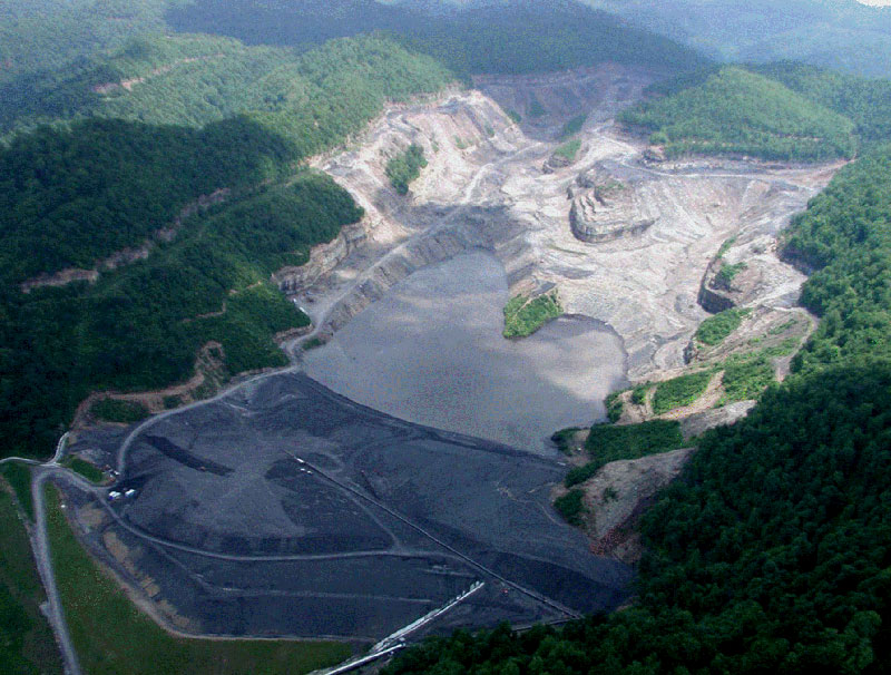 Mountaintop Removal and Impoundment Pond in Appalachia